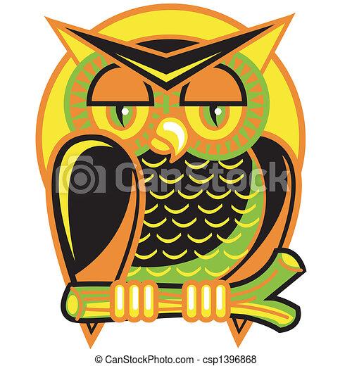 Halloween Owl Clip Art - csp1396868