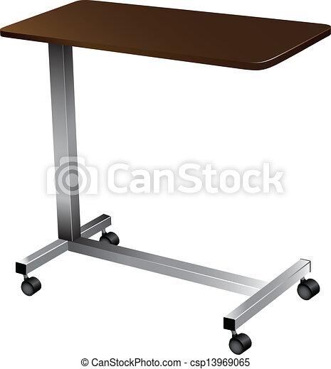clip art vektor von tisch aus bett leicht tragbar medizin tisch f r csp13969065. Black Bedroom Furniture Sets. Home Design Ideas