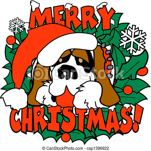 Christmas Dog St. Bernard Clip Art - csp1396922