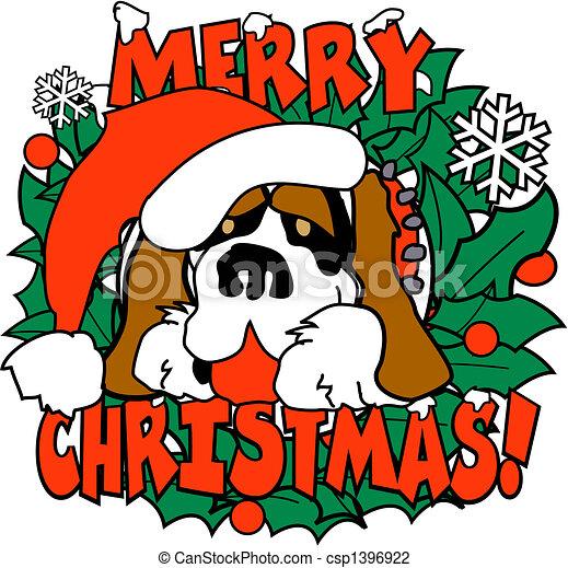 Christmas Dog St. Bernard Clip Art - csp1396922