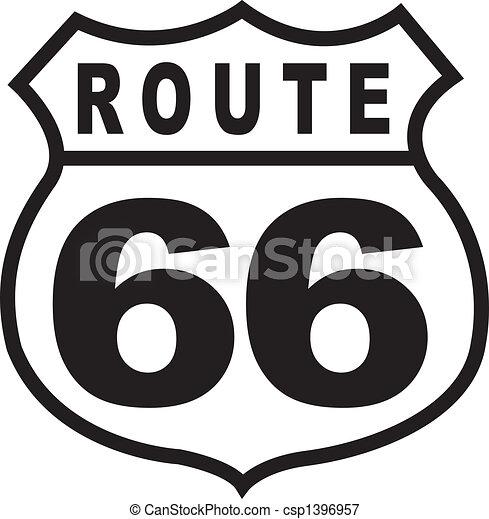 Route 66 Highway Sign Retro Vintage - csp1396957