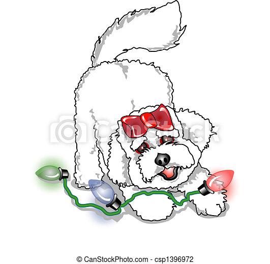 Poodle Bichon Frise Christmas Dog - csp1396972
