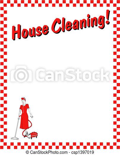 House cleaning frame border art - csp1397019