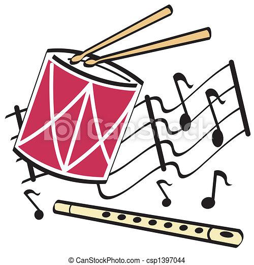 Drum and flute clip art - csp1397044