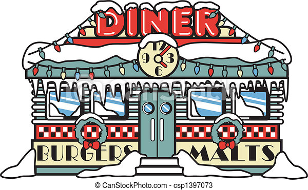 Fifties Diner Christmas Clip Art - csp1397073