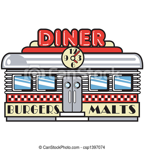 Eps Vector Of 1950s Fifties Diner Clip Art 1950s Fifties
