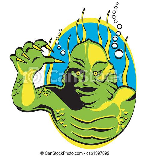 Halloween creature monster clip art - csp1397092