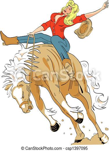 Sexy Cowgirl Riding Bronco Sign - csp1397095