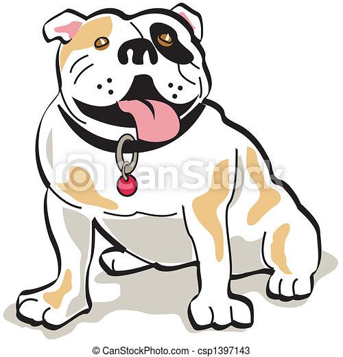 Bulldog dog clip art graphic - csp1397143