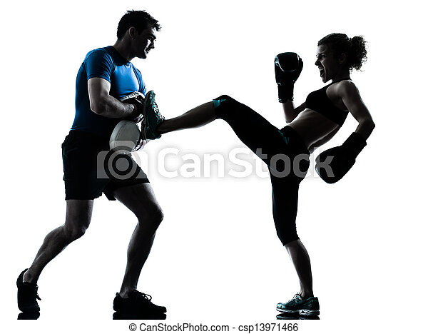 man woman boxing training - csp13971466