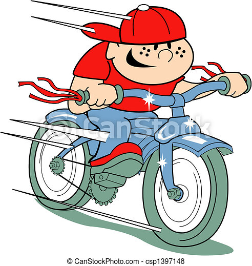Boy on bike clip art in retro style - csp1397148