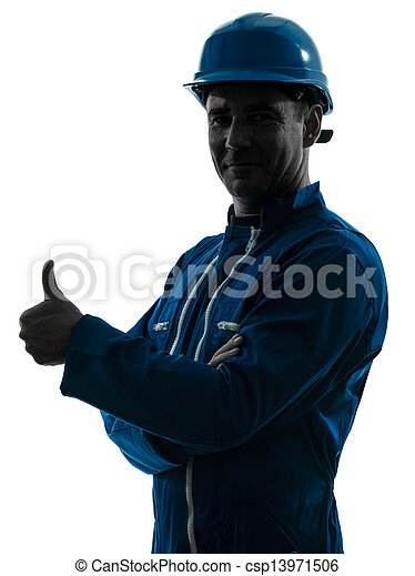 man construction worker Thumb Up silhouette portrait - csp13971506