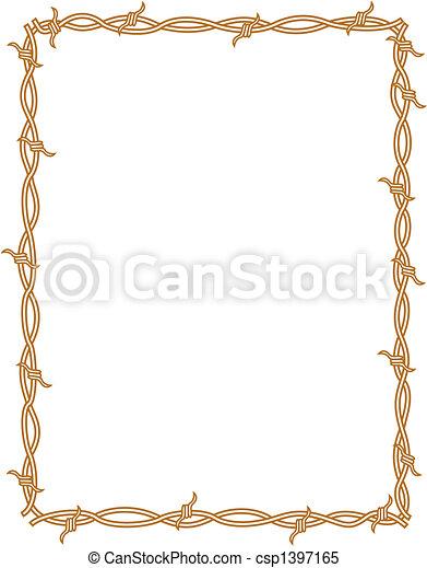 Barbed wire border frame background - csp1397165