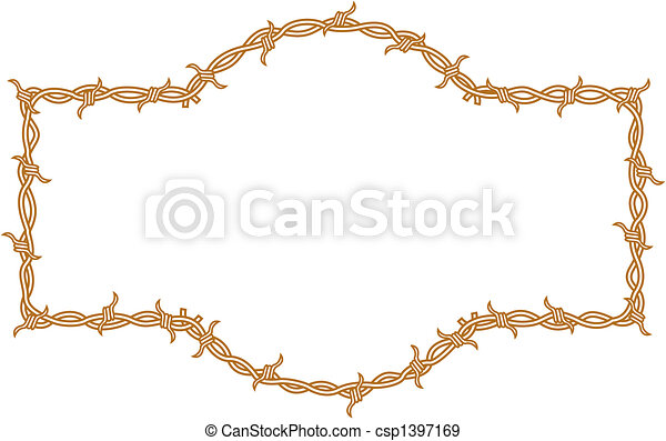 Barbed wire border frame - csp1397169