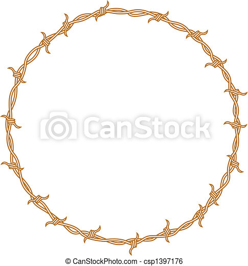 Barbed wire border frame background - csp1397176