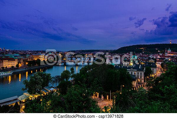 Vltava river and bridges in Prague aftet sunset - csp13971828
