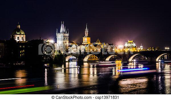 View over the Vltava river and bridges in Prague - csp13971831