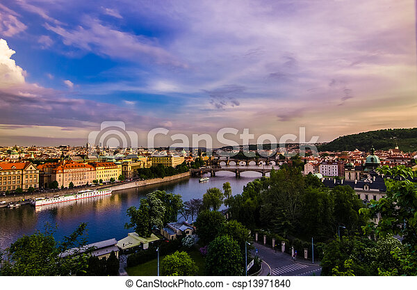Vltava river and bridges in Prague at sunset - csp13971840