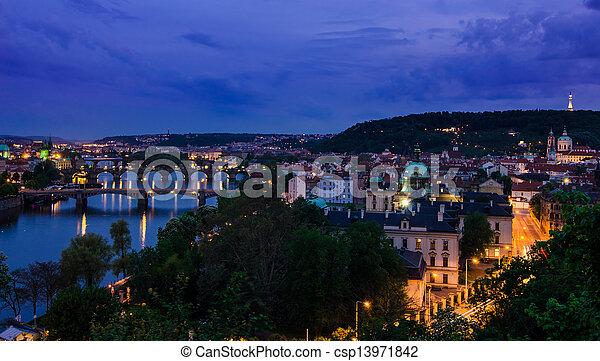 Vltava river and bridges in Prague after sunset - csp13971842