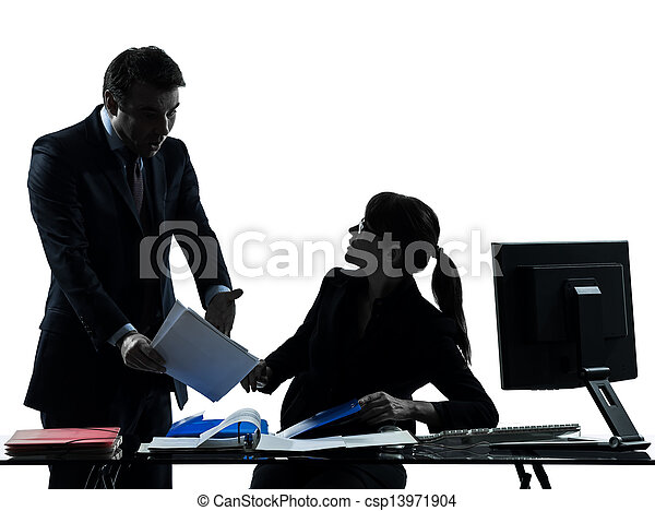 business woman man couple dispute conflict silhouette - csp13971904