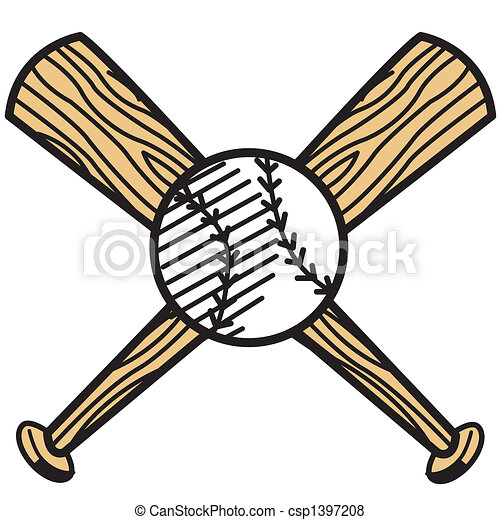 Baseball and bat clip art - csp1397208