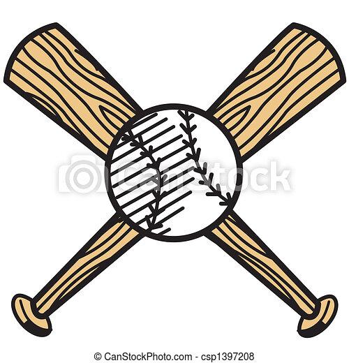 Baseball and bat clip art - csp1397208