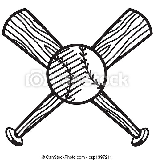 Baseball and bat sports clip art - csp1397211