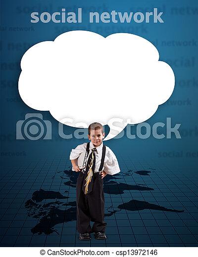 Boy with communication bubble - csp13972146