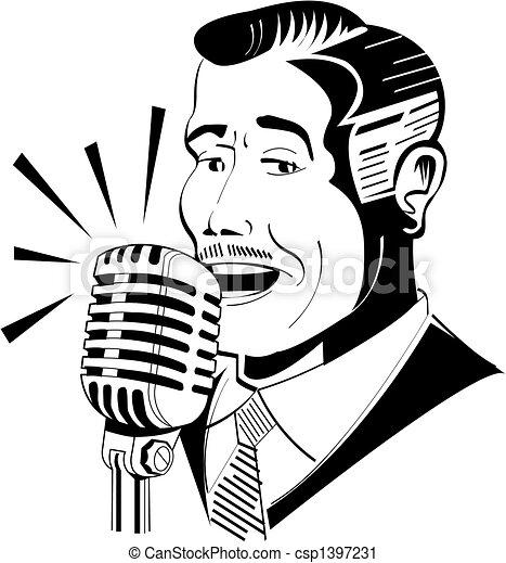 Radio announcer on microphone - csp1397231