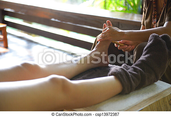 The women massage her foot for thai spa foot massage