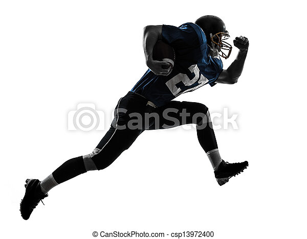 american football player man running  silhouette - csp13972400