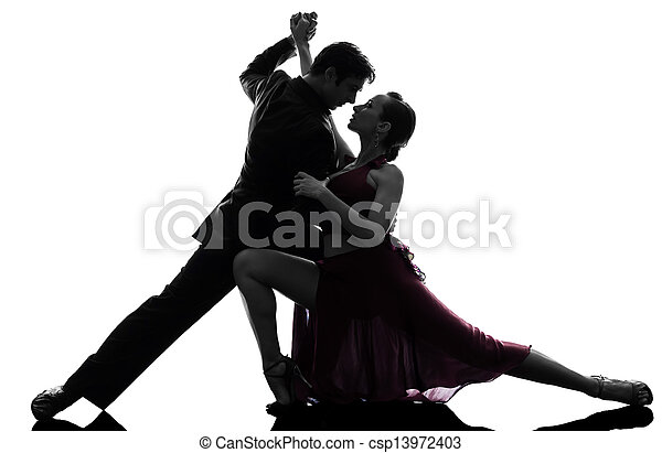 couple man woman ballroom dancers tangoing  silhouette - csp13972403