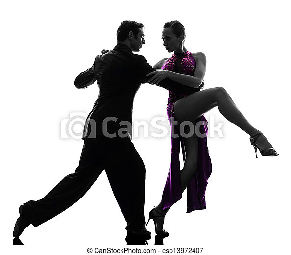 couple man woman ballroom dancers tangoing  silhouette - csp13972407