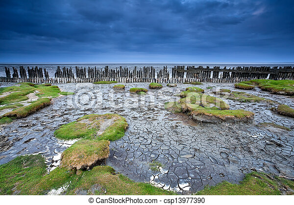 old wooden dike and mud at low tide, Moddergat, Netherlands - csp13977390