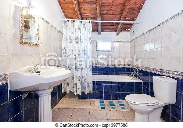 Plaatjes van ouderwetse retro badkamer blauwe tegels csp13977588 zoek naar stock foto 39 s - Ouderwetse badkamer ...
