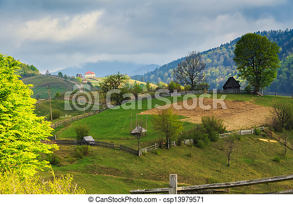 Spring rural landscape in the Carpathian mountains - csp13979571