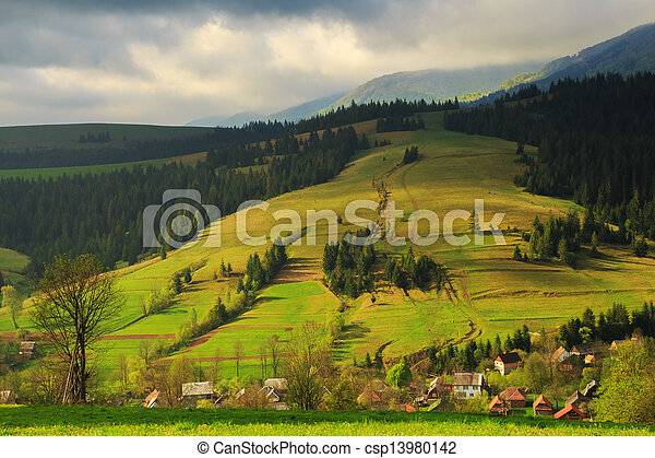 Spring rural landscape in the Carpathian mountains - csp13980142