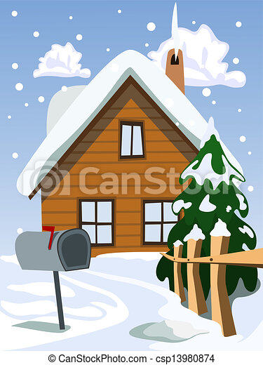 Vectors Illustration Of Illustration Of House In Snow