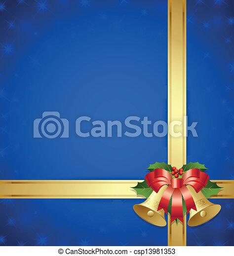 Clipart Vektor von geschenkband, Glocken, schablone - Weihnachten ...