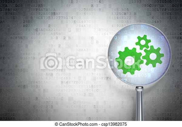 Data concept:  Gears with optical glass on digital background - csp13982075