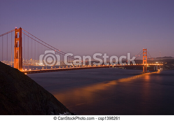 Golden Gate bridge at night - csp1398261