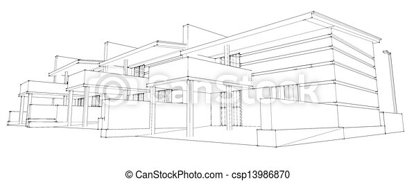 pencil sketch of residential development - csp13986870