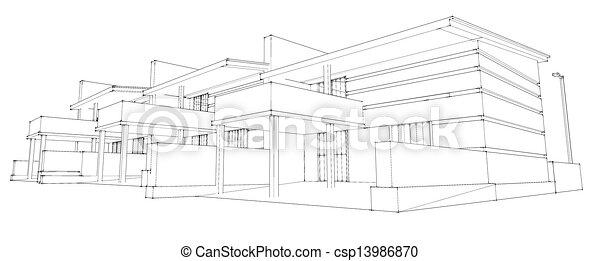 pencil sketch of residential development - csp13986870