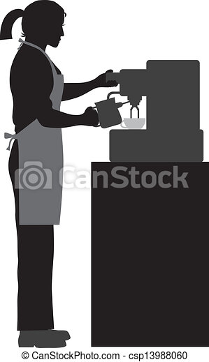 Female Coffee Barista Illustration - csp13988060