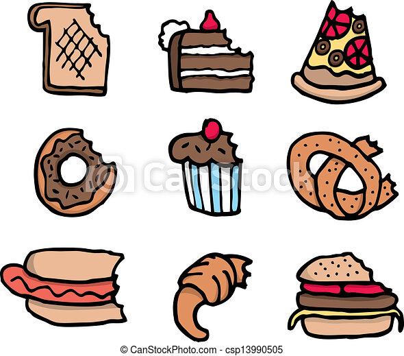 Vector Clipart Of Cartoon Bitten Food Set Csp13990505