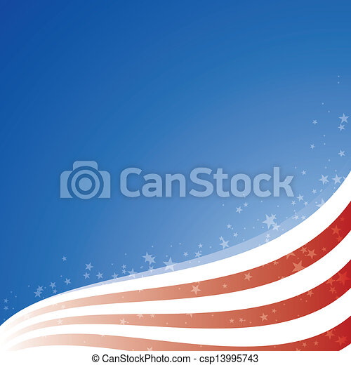 Vector background USA flag with light and stars - csp13995743
