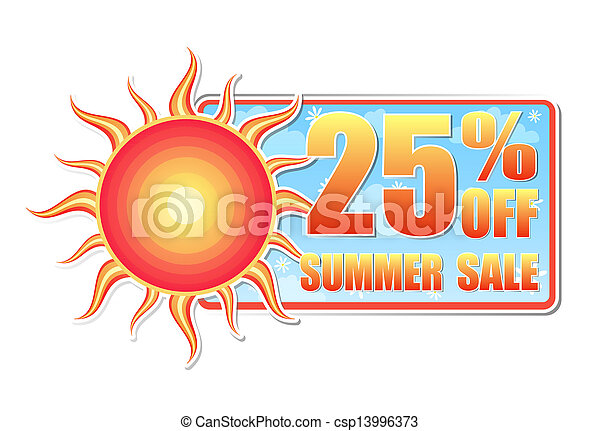 25 percentages off summer sale in label with sun - csp13996373