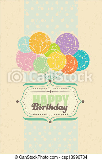 Happy Birthday card with balloons - csp13996704