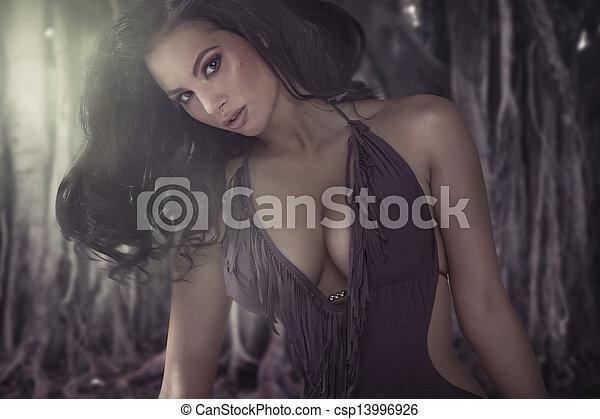身體, 光輝, 婦女, 黑發淺黑膚色女子, 迷人 - csp13996926