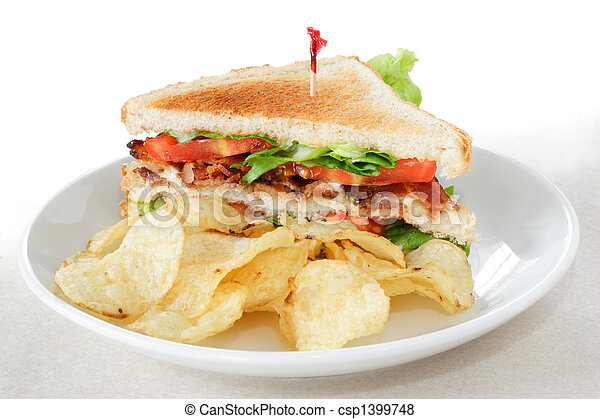 Bacon Lettuce and Tomato Sandwich with potato chips - csp1399748